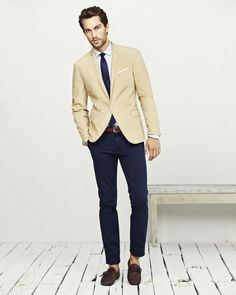 Beige&Blue Chic - Tailored cotton beige blazer with one button fastening at front paired with darkblue pants and brown shoes. #mango #summer #chic #men #outfit #blazer #darkblue #trousers #beige