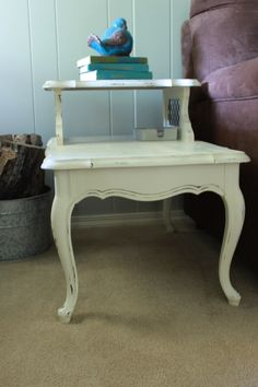 Beautiful retro step end tables in Old White by Annie Sloan Chalk Paint.