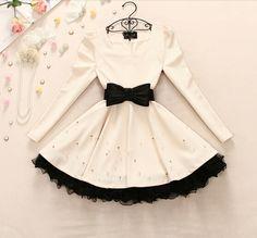 Lace Bead Bow Dress #ER110108