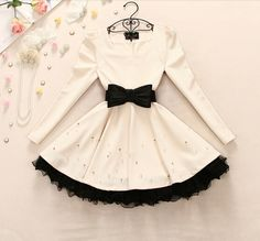 Lace Bead Bow Dress #ER110108