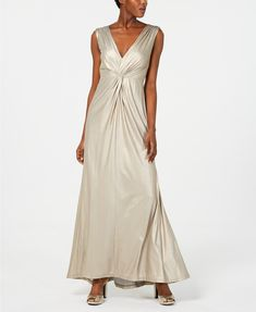 70a87152ee Calvin Klein Twisted Metallic Gown - Tan Beige 4