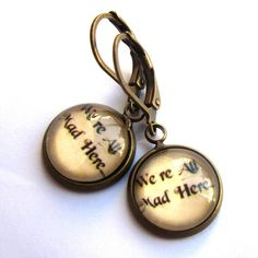 Mad Hatter Earrings Alice In Wonderland We're All Mad Here