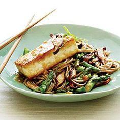 Soba Noodles with Miso-Glazed Tofu and Vegetables Recipe | MyRecipes.com