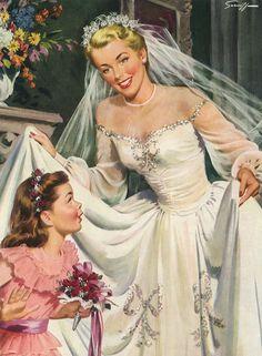 Arthur Saron Sarnoff (1912-2000) — Vintage Bride with Flower Girl on Her Wedding Day Square Sticker (2254×3071)
