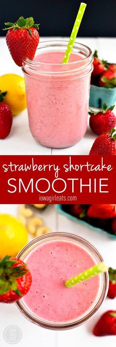 Strawberry Shortcake Smoothie is a sippable gluten and dairy-free version of Strawberry Shortcake with no added sugar! #glutenfree | iowagirleats.com