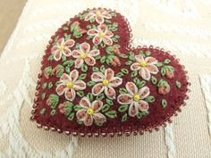 Deep Pink Felt Hand Embroidered Heart Pin ♥ by sweetheartsandroses, $12.00