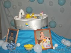 """Diaper """"Tub"""" I made for my friend's Duck theme baby shower! Turned out so cute!"""
