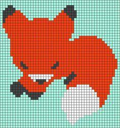 Alpha friendship bracelet pattern added by NobodyElse. fox little chibi asleep animal animals. Graph Crochet, Pixel Crochet, C2c Crochet, Crochet Quilt, Tapestry Crochet, Afghan Crochet Patterns, Stitch Patterns, Fox Crafts, Corner To Corner Crochet