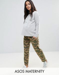 ASOS MATERNITY CAMO CHINO PANTS with Under the Bump Waistband - Green
