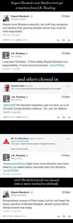J.K. Rowling's response to Rupert Murdoch's anti-Muslim tweets. Spoiler alert: She wins.