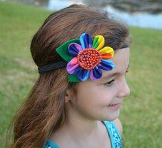 Fabric Multicolor Flower  Non slip Headband  by ChinichiniBangBang