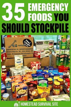 35 Emergency Foods You Should Stockpile - Homestead Survival Site Here you'll find a list of 35 emergency foods you should be stockpiling. With all of these foods on hand, you'll be eating well no matter what happens. Emergency Food Storage, Emergency Food Supply, Emergency Preparedness Kit, Emergency Preparation, Emergency Supplies, Survival Prepping, Survival Skills, Survival Gear, Wilderness Survival