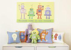 The Little Acorn Purple Robot Shaped Pillow