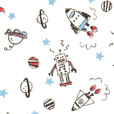 robot fabric for boys with rocket stars by Kokka