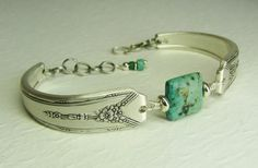 Silver Spoon Bracelet, Milady 1940, with African Turquoise ~ Silverware Jewelry
