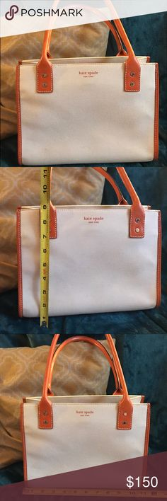 Orange and Cream small Kate Spade Tote Cute Kate Spade bag!  9 H x 11 W.  cream is canvas. Orange accents are leather. kate spade Bags Totes