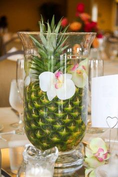 pineapple centerpiece for beach wedding Orchid Centerpieces, Centerpiece Decorations, Decoration Table, Wedding Decorations, Golf Centerpieces, Wedding Ideas, Pineapple Centerpiece, Havana Nights Party, Hawaian Party