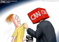 CNN has become the big bully and thug they claim President Trump to be, as they try to silence a meme creator. Political cartoon A.F. Branco ©2017