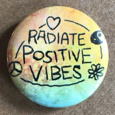 This colorful button states Radiate Positive Vibes. Spread the love with this cute button! Also see: https://www.etsy.com/listing/161108220/rastafarian-peace-sign-hippie-love-125?ref=shop_home_active_2&ga_search_query=peace Available as a 1.25 or 1.5 Pinback Button, Magnet or as a 1.5 Keychain. *** More Pinback Buttons, Magnets and Keychains: https://www.etsy.com/shop/bohemianapothecarium PAY ONLY ONE SHIPPING FEE: No additional c...