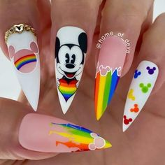 Disney Nail Designs, Cute Nail Designs, Cute Nails, Pretty Nails, Simple Disney Nails, Disney Acrylic Nails, Mickey Mouse Nails, Mickey Mouse Nail Design, Rainbow Nails