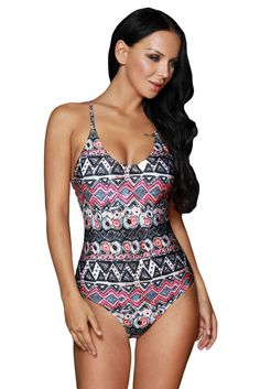 7d6a2aa74a Stylish Gypsy Print One-Piece Bathing Suit