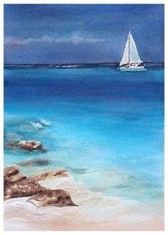 "Original watercolor painting by JP Wisniewski ""Summer sailing"" from a photo. Seascape Paintings, Watercolor Paintings, Sailboat Painting, Arches Paper, How To Make Paint, Ocean Beach, Sailing, Photos, Tropical"