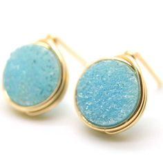 The Whiskey In My Water Druzy Stud Earring - Circle (Many Colors) - LuEls