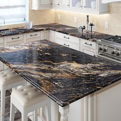 Brown Granite Countertops, Epoxy Countertop, Cheap Countertops, Dark Kitchen Countertops, Polished Concrete Countertops, Spray Paint Countertops, Stone Coat Countertop, Black Granite Kitchen, Countertop Installation