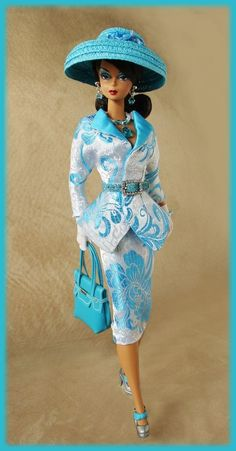 OOAK Fashions for Silkstone / Vintage barbie / Fashion Royalty - Brocade silk