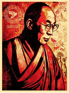 Want to be more like the Dalai Lama? Here are 8 things everyone can learn from the Dalai Lama for greater personal happiness and happiness worldwide. Graffiti, Illustration, Shepard Fairy, Poster Art, Art, Shepard Fairey Art, Street Art, Pop Art, Prints