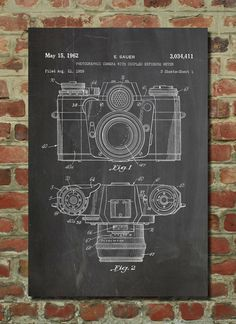 Camera Patent Wall Art Poster  This patent poster is printed on 90 lb. Cardstock paper. Choose between several paper styles and multiple sizes.