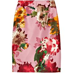 Oscar de la Renta for THE OUTNET Floral-print silk-twill pencil skirt ($158) ❤ liked on Polyvore featuring skirts, bottoms, oscar de la renta, floral, bubblegum, floral skirt, colorful pencil skirts, floral pencil skirt, print pencil skirt and floral print pencil skirt