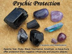 Crystal Guidance: Crystal Tips and Prescriptions - Psychic Protection. Top Recommended Crystals: Apache Tear, Ruby, Black Tourmaline, Amethyst, or Aqua Aura Quartz.  Additional Crystal Recommendations: Labradorite, Black Obsidian, Rutilated Quartz, or Lapis Lazuli.  Carry your favorite psychic protection crystal(s) or wear it at your Higher Heart chakra.