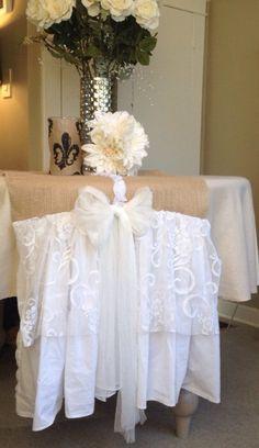 Elegant White Ruffled Burlap Wedding Table Center Piece Runner/ Shabby Chic  Style Table Runner With