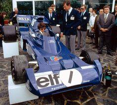 1972, Tyrrell 005 presentation, François Cevert, Kent Tyrrell and Derek Gardner (designer)