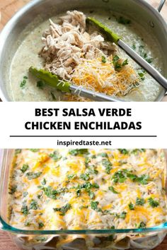 These green chicken enchiladas with salsa verde, chicken, sour cream, cheese and cilantro are simple to make. Salsa verde is a green tomatillo salsa made with g Top Recipes, Mexican Food Recipes, Cooking Recipes, Healthy Recipes, Cooking Icon, Recipies, Mexican Dishes, Copycat Recipes, Healthy Food