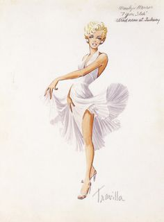 William Travilla's original sketch of the iconic white dress wore by Marilyn Monroe from the 1955 film, The Seven Year Itch.