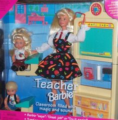 omg i have this!!! loved that barbie..lost her dress and one of the kids and broke the chalk board but i still have most of it lol