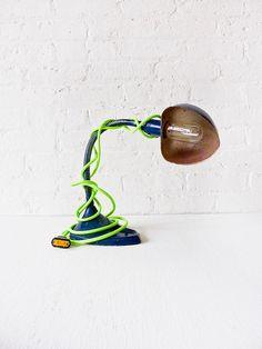 Industrial Lighting - Vintage Gooseneck Desk Lamp - Navy Blue w/ Neon Yellow Green Color Cord