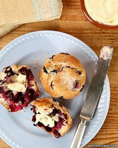 These delicious muffins -- bursting with blueberries, and with crunchy, sugary tops -- are perfect for breakfast or with coffee any time of the day.