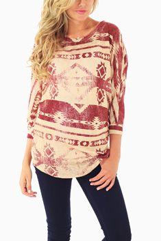 Red Beige Tribal Dolman Sleeve Maternity Top