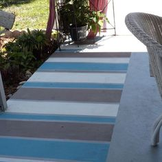 Add baking soda to paint for non-slip faux outdoor rug!