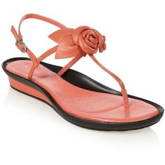 Peach flower strap sandals ($60) ❤ liked on Polyvore