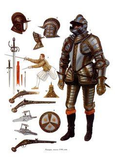 1610 style plate. Three Quarter Suit Armor