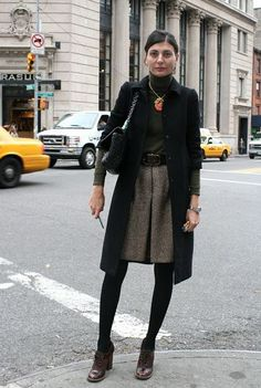 Giovanna Battaglia  | skirt and tights with shoes