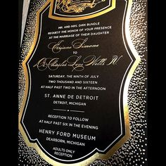 Gold and silver foil stamping on double ply black stock. Such a beautiful invitation! We loved designing and printing this suite! Foil Stamped Wedding Invitations, Foil Stamping, Love Design, Letterpress, Reception, Marriage, Printing, Instagram Posts, Silver
