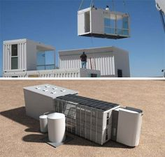 Shipping Container Home & Studio: Desert Green - Prefab Homes, Shipping Container Homes Shipping Container Buildings, Shipping Container Design, Container House Design, Shipping Containers, Sea Container Homes, Cargo Container, Container Architecture, Architecture Design, Container Conversions