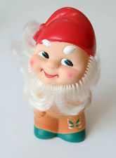 1960s USSR Soviet Russia Vintage Russian PVC RUBBER TOY GNOME  , Unused