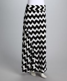 Take a look at this Black & White Oreo Maxi Skirt by Purple Clover on #zulily today!