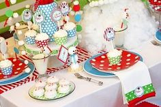 Polka dot Christmas dessert table by Silviac
